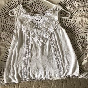Juniors small white lace top with bottom back
